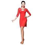 ラテンダンス ワンピース 女性用 訓練 プロミックス レース 2個 3/4スリーブ ナチュラルウエスト ドレス ショートパンツ
