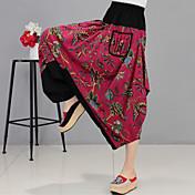 pantalones de lino boho de las mujeres pantalones de moda. suelto. pantalones de algodón y lino