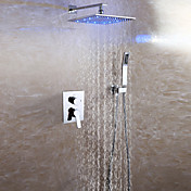 現代風 壁式 LED レインシャワー ハンドシャワーは含まれている with  セラミックバルブ 二つのハンドル三穴 for  クロム , シャワー水栓
