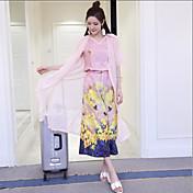 符号2017春のファッション9点ワイドレッグパンツシフォンガウンデジタル印刷スリーピースのスーツ+