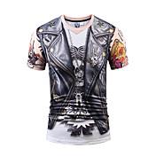 メンズ カジュアル/普段着 パーティー クラブ Tシャツ,ストリートファッション 活発的 パンク & ゴシック ラウンドネック プリント ポリエステル 半袖