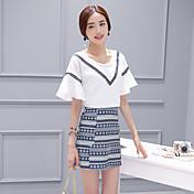 符号2017 AMOI簡単なホーンスリーブシャツ+全国のパターン寸法カットスカートスーツ