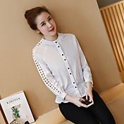 2017春の新しい韓国人女性のラウンドネック白いシャツのウエストコートは薄いレースのシャツの女性の長袖シャツでした