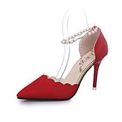 Damer Hæle Komfort daske støvler Kunstlæder Sommer Afslappet Gang Komfort daske støvler Perle Spænde Stilethæl Sort Army Grøn Rød Lys pink