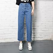 洗浄パーソナライズされたポケットのデザイン緩い重要なひょろっと腰ワイドレッグパンツにサインジーンズ女性のBF風