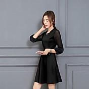 hitz韓国女性レース長袖ニットドレス大きなヤード長いセクションボトミングドレス