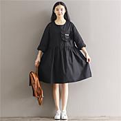 長袖のドレス緩い大きなスイングドレス本物のショット2017新しいファンアートポケットの刺繍