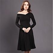 ヘップバーンの黒のドレスと長いセクション2016冬の女性のスリムVネックストラップレスのリトルブラックドレスは薄いニットでした