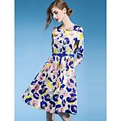 2016年のヒット女性スリムな秋の新しいハイエンドプリントドレススカートスリーブ