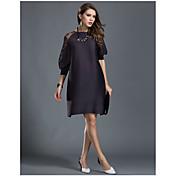 ルーズなドレスの大きなヤード長いセクションは、女性を増やすために薄いファッションの第五袖スプリング夏肥でした&折りたたみ