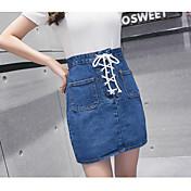 サインデニム韓国のファンカレッジレーススカートは薄い無地のスカートです