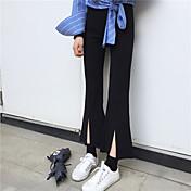 Real signo primavera retro micro cuerno dividir pantalones pantyhose delgado cintura pantalón ancho pantalones