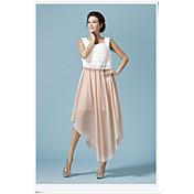 Mujer Línea A Vestido - Estilo artístico, Color sólido Alta cintura
