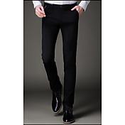 Hombre Casual Tiro Medio Microelástico Empresa Pantalones,Un Color Todas las Temporadas