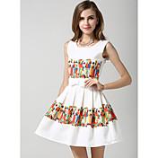 女性用 Aライン ドレス - プリント, 抽象的