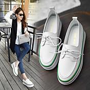 Mujer-Media plataforma-Confort-Zapatos de taco bajo y Slip-Ons-Informal-Cuero-Negro Verde
