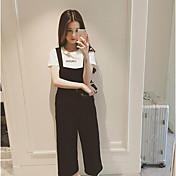 Gasa de cintura alta pierna ancha pantalones pantalones de primavera versión coreana era delgada de nueve puntos siameses pantalones de
