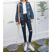 記号2017韓国の通りのビート野生のスリムは薄い穴のジーンズの足だった