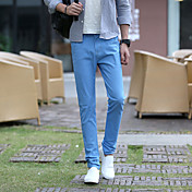 Hombre Casual Tiro Medio Inelástica Ajustado Pantalones,Lápices Color sólido Color puro