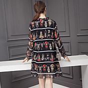 2017年春新しい長袖のシルクのドレスの女性のプリントドレスシルクハイヒールアーク