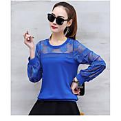 女性の長袖レースシャツ2017新しい春韓国の野生の緩い大きなヤード短いシャツの小さなシャツ