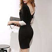 Mujer Línea A Vestido Trabajo Sexy,Varios Colores Escote Redondo Sobre la Rodilla, Mini Manga Larga N/A Verano Tiro Alto Elástico Medio