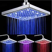 superior alcachofa de la ducha aerosol de color luminoso tricolor temperatura / 8 pulgadas rociador superior de refuerzo de agua (abs