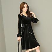 Mujer Corte Ancho Vestido Noche Sofisticado,Un Color Escote en Pico Manga Larga Terciopelo Primavera Otoño Tiro Alto
