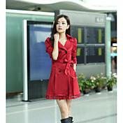 女性用 日常 ストリート 春 秋 ロング コート, クラシック ピーターパンカラー 純色 詳細情報なし