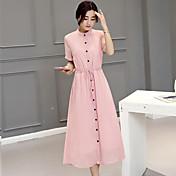 Mujer Línea A Vestido - Estilo artístico, Color sólido Alta cintura Maxi Cuello Barco