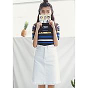 サインヒップ韓国のバージョンは薄い白いハイウエストデニムスカート女性スカートスカート長いセクションだった