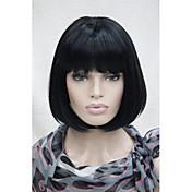 女性 人工毛ウィッグ キャップレス ショート丈 ストレート ブラック ミディアムボブ ボブスタイル・ヘアカット バング付き ナチュラルウィッグ ハロウィンウィッグ カーニバルウィッグ コスチュームウィッグ