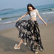 Mujer Boho Playa Festivos Maxi Faldas,Columpio Verano Floral Estampado