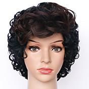 女性 人工毛ウィッグ キャップレス ショート丈 カーリー ブラック オンブレヘア ナチュラルウィッグ コスチュームウィッグ