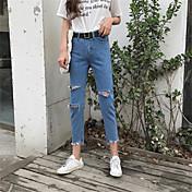 Mujer Casual Tiro Alto Microelástico Corte Recto Shorts Pantalones,Un Color Verano