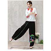 Mujer Boho Tiro Medio Microelástico Chinos Pantalones,Perneras anchas Estampado