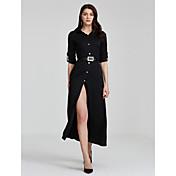 Mujer Corte Ancho Vestido Fiesta Sensual,Un Color Cuello Camisero Maxi Manga Larga Otoño Tiro Medio Rígido Medio