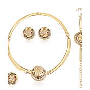 ジュエリーセット イヤリング/ブレスレット ネックレス/リング ファッション 欧米の ラインストーン 合金 円形 幾何学形 1×ネックレス 1×イヤリング(ペア) 1×ブレスレット リング のために 結婚式 パーティー 誕生日 婚約 日常 1セット ウェディングギフト