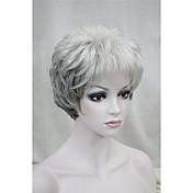 Mujer Pelucas sintéticas Sin Tapa Corto Rizado Gris Peluca natural Las pelucas del traje