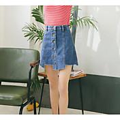 Mujer Chic de Calle Casual/Diario Mini Faldas,Línea A Verano Un Color