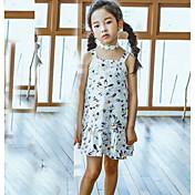 Vestido Chica de Enrejado Algodón Manga Corta Verano Floral Blanco