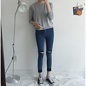 レディース シンプル ストリートファッション ハイライズ スリム ジーンズ パンツ ゼブラプリント