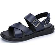 Hombre Zapatos Cuero Verano Sandalias Paseo Hebilla Para Casual Negro Azul