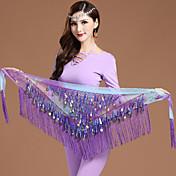 ベリーダンス ベリーダンス用ヒップスカーフ 女性用 訓練 シフォン ゴールドコイン 1個 クリスマス Halloween プリンセス 妖精 セクシレディー セクシーメイド、召使 海賊 ヒップスカーフとベルトは含まれていません.