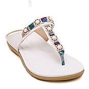 MujerSuelas con luz-Zapatos de taco bajo y Slip-Ons-Informal-Cuero de Cerdo-Blanco Negro Almendra