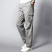 Hombre Tiro Medio Rígido Corte Recto Corte Ancho Chinos Pantalones de Deporte Pantalones,Un Color Algodón Acrílico Otoño Primavera Todas