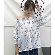 レディース カジュアル/普段着 春 夏 シャツ,シンプル キュート ボートネック フラワー コットン 長袖 薄手