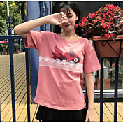 レディース お出かけ Tシャツ,ヴィンテージ ストリートファッション ラウンドネック ソリッド プリント その他 半袖