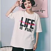 Mujer Vintage Casual/Diario Verano Camiseta,Escote Redondo Estampado Manga Corta Algodón Opaco
