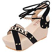 Mujer Zapatos PU Verano Sandalias Paseo Tacón Cuña Dedo redondo Pedrería para Negro Beige Azul